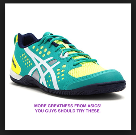 Not that I needed an excuse to buy more shoes, but: My AbsoluteFIT workouts go better with these rad new Asics than with old running shoes.