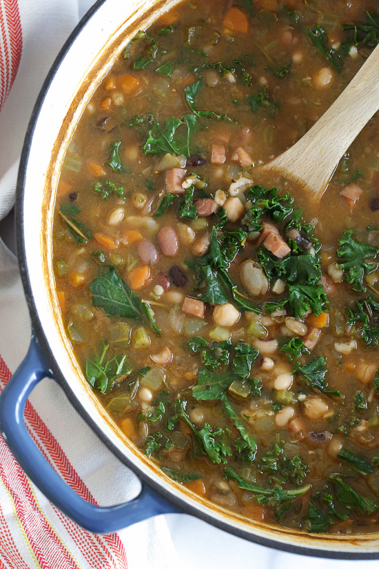 16 Bean Soup with Ham and Kale – a hearty soup, high in fiber and perfect for freezer friendly meals. Weight Watchers Smart Points: 5 Calories: 155